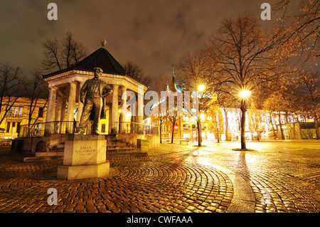 Night view of square in central Oslo, Norway - Stock Photo