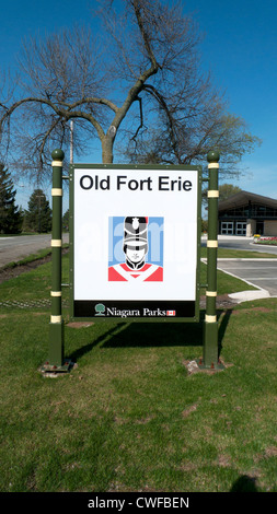 Old Fort Erie sign at the entrance of the tourist attraction Southern Ontario Canada - Stock Photo