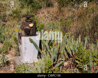 Along footpaths in coastal area of Corsica you can find fire hydrants to help fight the frequent wildfires - Stock Photo