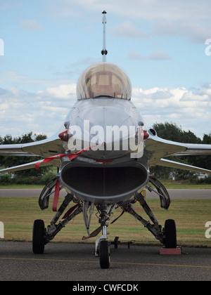 Dutch Royal Airforce F16 fighter jet frontal view, Seppe airfield, Noord Brabant, the Netherlands