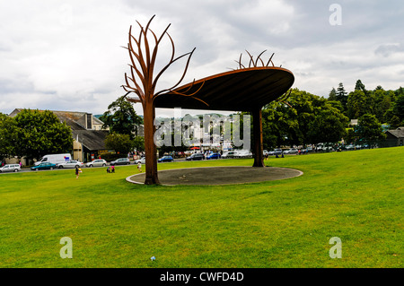 A steel structure on The Glebe, a favourite playing field and vantage point overlooking Bowness bay, Lake District, - Stock Photo