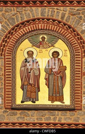 EUROPE, Macedonia, Ohrid, Orthodox Church of St Clement & St Panteleimon (originally 4th/5th Century) , mosaic above - Stock Photo
