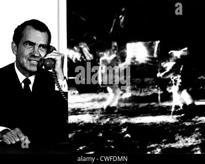 Composite photo of President Richard M. Nixon as he telephoned Tranquility Base and astronauts Neil Armstrong and - Stock Photo
