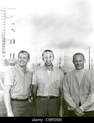 NASA's Apollo 11 flight crew (L to R) Neil A. Armstrong, commander; Michael Collins, command module pilot; and Buzz - Stock Photo