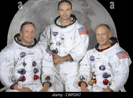 Portrait of the prime crew of the Apollo 11 lunar landing mission. From left to right they are: Commander, Neil - Stock Photo