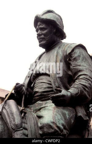 Detail of Cervantes monument represent Sancho Panza, squire of Don Quijote in Madrid, Spain - Stock Photo