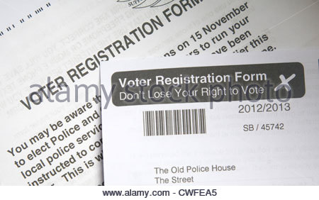 Voter Registration Form Uk Stock Photo Royalty Free Image
