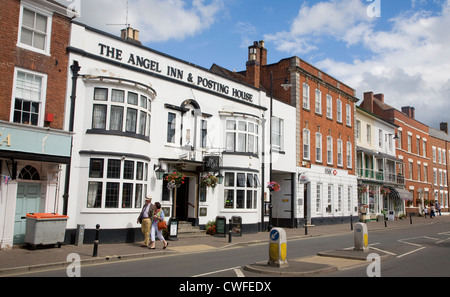 Buildings in High Street, Pershore, Worcestershire, England - The Angel Inn and Posting House - Stock Photo