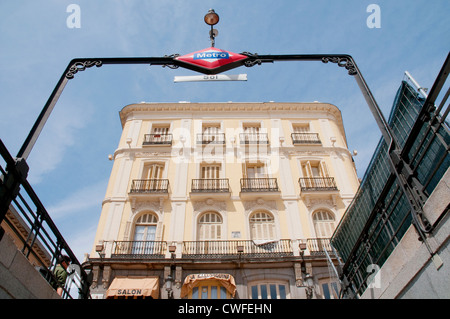 Puerta del Sol from the Metro entrance. Madrid, Spain. - Stock Photo