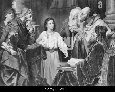 Jesus at the age of twelve, discoursing with the learned doctors - Luke 2, 46 - Stock Photo