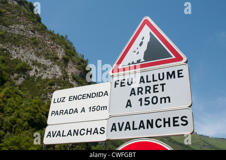 Roadside warning signs for avalanches French Spanish border in the Pyrenees - Stock Photo