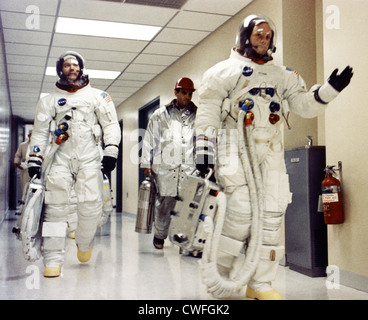 NASA Astronauts Neil A. Armstrong waves to well-wishers in the hallway of the Manned Spacecraft Operations Building - Stock Photo