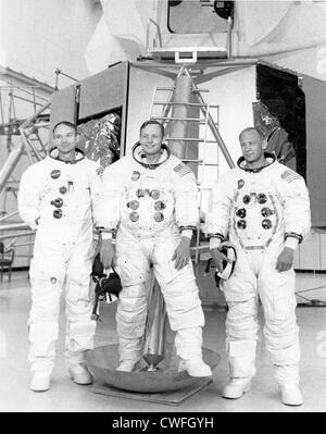 NASA Apollo 11 prime crew poses during training (L-R) Michael Collins, Neil Armstrong and Buzz Aldrin June 19, 1969 - Stock Photo