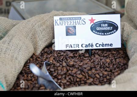 Fair Trade Café Crème Brazilian coffee beans in jute bag – German Kaffeehaus Kaffee Hagen, Heilbronn South Germany - Stock Photo