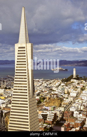 San Francisco, California - Transamerica Building, Coit Tower on Telegraph Hill, Alcatraz Prison in San Francisco - Stock Photo