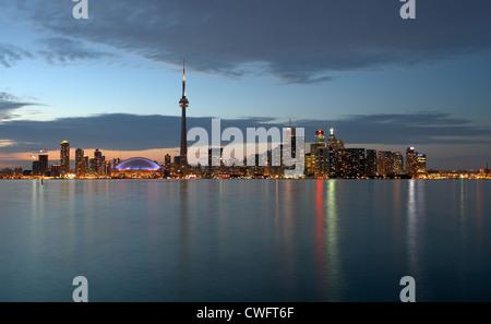 Toronto - view over Lake Ontario on the nightly skyline