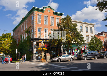 Businesses and buildings on Main Street, Cooperstown, New York - Stock Photo