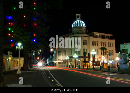 Napier at night showing The Dome on Marine Parade, Napier, Hawkes Bay, New Zealand - Stock Photo