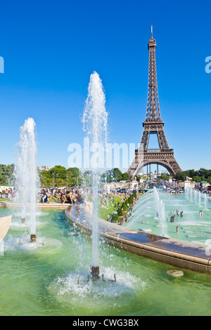 Paris skyline France EU Europe Eiffel tower with trocadero fountains - Stock Photo