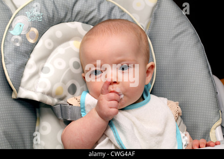 Month Old Baby Eating Jar Food