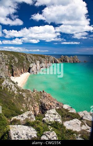 Treen Cliffs near Porthcurno to Logan Rock, West Cornwall, England UK - Stock Photo