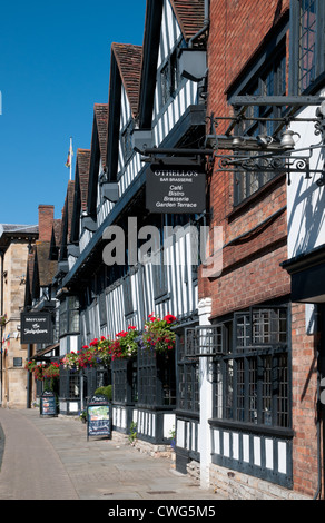 The Mercure Shakespeare Hostelrie medieval half timbered black and white hotel High Street Stratford upon Avon England - Stock Photo