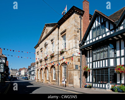 Town Hall formerly the market hall and Mercure Shakespeare Hostelrie medieval hotel High Street Stratford upon Avon - Stock Photo