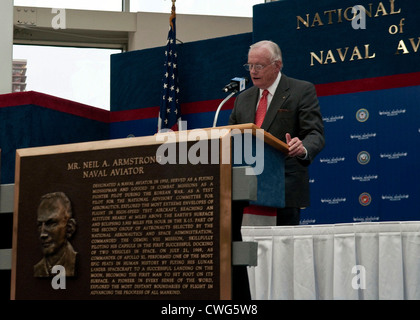 Former astronaut Neil Armstrong gives an acceptance speech after being inducted into the Naval Aviation Hall of - Stock Photo
