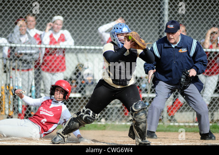 Softball Catcher records a force out at the plate on a sliding runner following an infield tapper to the pitcher. - Stock Photo