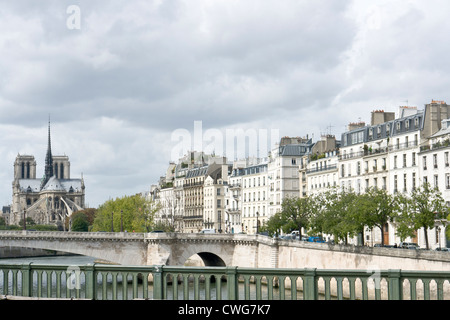 View of Notre Dame from Pont de Sully, Paris - Stock Photo