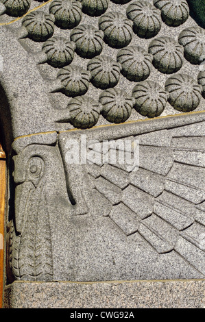 Relief sculpture in stone at the front entrance of the Tampere Cathedral, Finland - Stock Photo