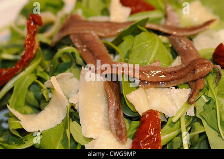 salad dry tomato, rucola leaves, parmigiano, parmesano, anchovies, olive oil rugula and rucola - Stock Photo