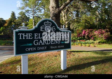 Elizabethan Gardens sign tourist attraction at Manteo, North Carolina - Stock Photo