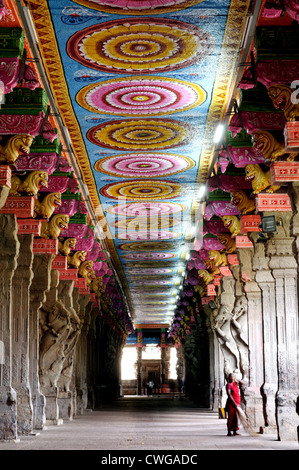 Inside Meenakshi Temple in Madurai South India - Stock Photo