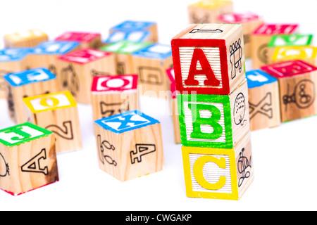 Children's blocks spelling ABC - Stock Photo