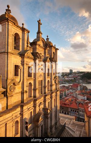 Evening light Igreja dos Grilos Ribeira Porto Portugal - Stock Photo
