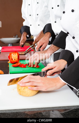 professional chefs cooking in restaurant kitchen - Stock Photo