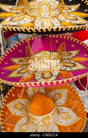 Colorful sombreros for sale at Market 28 (Mercado 28), Cancun, Yucatan Peninsula, Quintana Roo, Mexico - Stock Photo