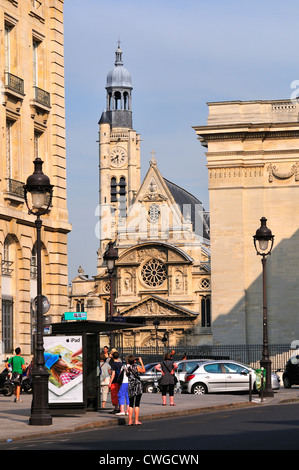 Paris, France. Church of St Etienne-du-Mont (1492-1586) by the Pantheon - Stock Photo