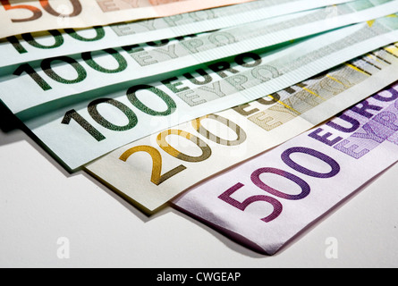 Berlin, a different compartments of euro notes - Stock Photo
