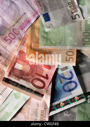 Berlin, disordered Euro notes in various denominations - Stock Photo