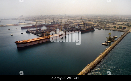 Dubai UAE Ships Being Repaired In Dry Dock - Stock Photo