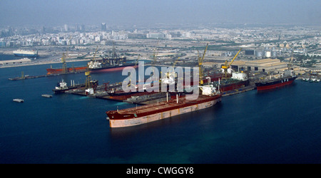 Dubai UAE Aerial View Of Ships In Dry Dock - Stock Photo