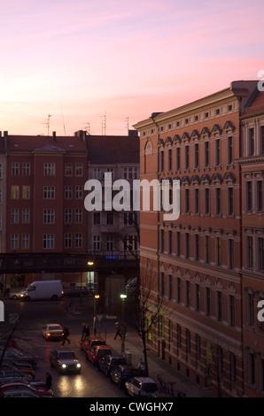 Street at night in Prenzlauer Berg, Berlin - Stock Photo
