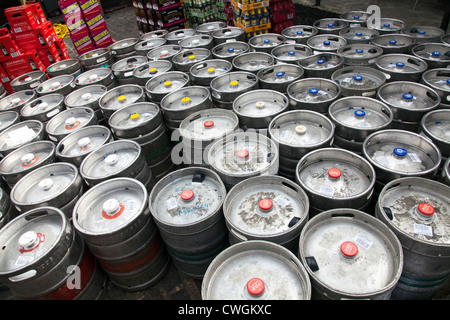 Assorted Beers in Kegs delivered to Camden Drinkigng Establishment - London UK - Stock Photo