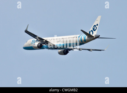 Flybe European Embraer ERJ-190-200LR, Gatwick Airport, Sussex, England - Stock Photo