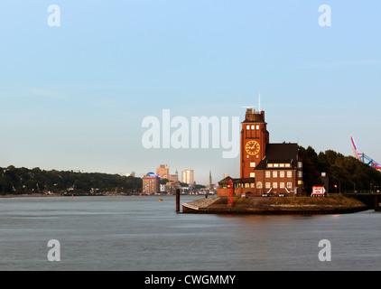 Pilot's Tower at the port entrance of Hamburg - Stock Photo