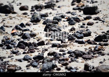 Volcanic rocks on beach - Stock Photo