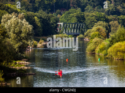 River Ruhr, Essen, Germany. Summer time, people enjoying warm sunny weather at the river. - Stock Photo
