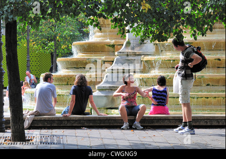 Paris, France. Fontaine des Innocents in Square Joachim du Bellay - Stock Photo